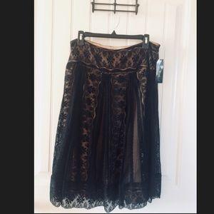 ECI New York Black Lace Midi Skirt
